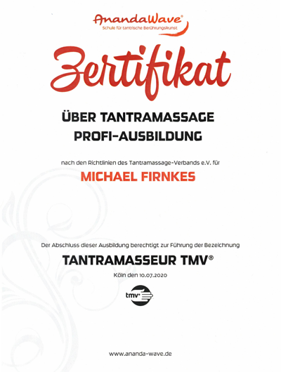 TMV Zertifikat Tantra Massage